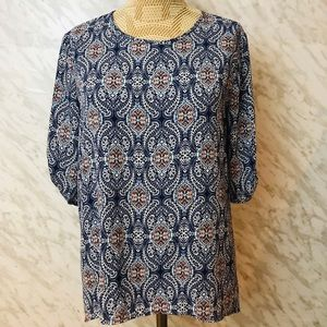 Anthropologie W5 Short Sleeve Top Blue Size Small